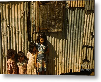 Children In A Company Housing Settlement Metal Print by Celestial Images