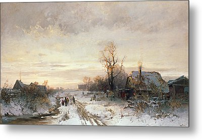 Children Playing In A Winter Landscape Metal Print by August Fink