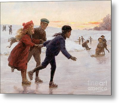 Children Skating Metal Print by Percy Tarrant