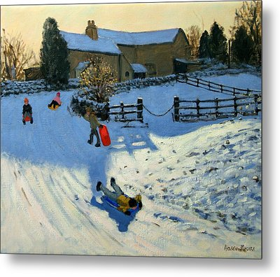 Children Sledging Metal Print by Andrew Macara