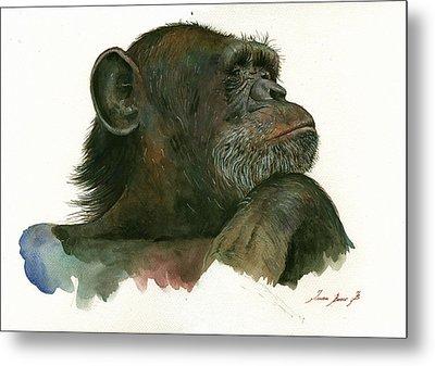 Chimp Portrait Metal Print by Juan Bosco