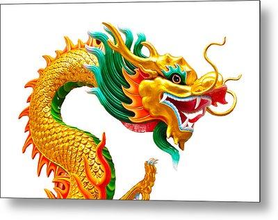 Chinese Beautiful Dragon Isolated On White Background Metal Print by Nichapa Sornprakaysang