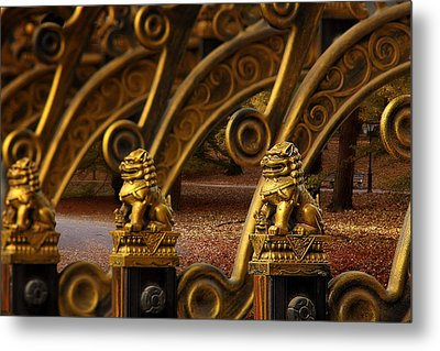Chinese Lions - Luck Prosperity Power Grandeur Metal Print by Christine Till