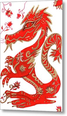 Chinese New Year Astrology Dragon Metal Print by Barbara Giordano