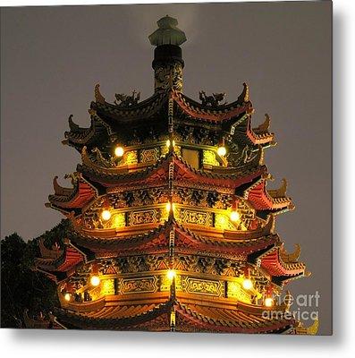 Chinese Pagoda By Night Metal Print by Yali Shi
