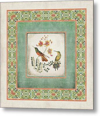 Chinoiserie Vintage Hummingbirds N Flowers 1 Metal Print by Audrey Jeanne Roberts