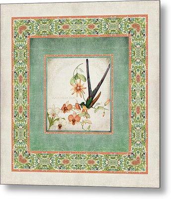 Chinoiserie Vintage Hummingbirds N Flowers 3 Metal Print by Audrey Jeanne Roberts