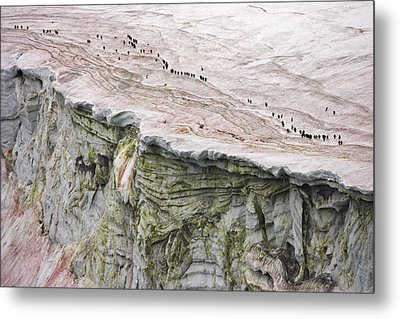 Chinstrap Penguins Crossing An Metal Print by Maria Stenzel