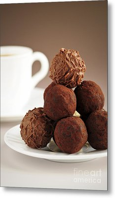 Chocolate Truffles And Coffee Metal Print by Elena Elisseeva