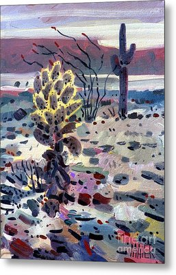 Cholla Saguargo And Ocotillo Metal Print by Donald Maier