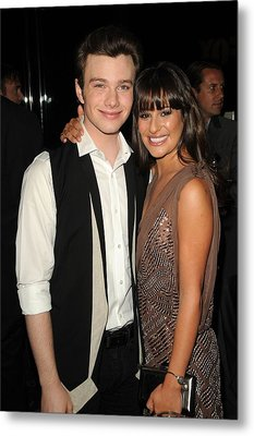 Chris Colfer, Lea Michelle At Arrivals Metal Print by Everett