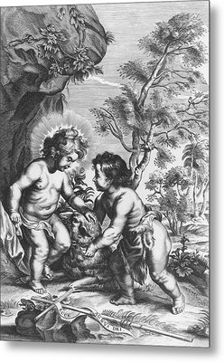 Christ And John The Baptist  Behold The Lamb Of God Metal Print by Gaspar Huberti