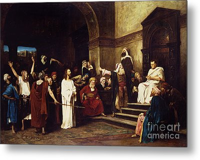Christ Before Pilate Metal Print by Mihaly Munkacsy