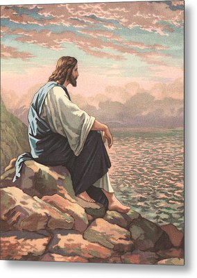 Christ By The Sea Metal Print by American School