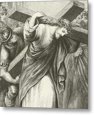 Christ Carrying His Cross Metal Print by English School