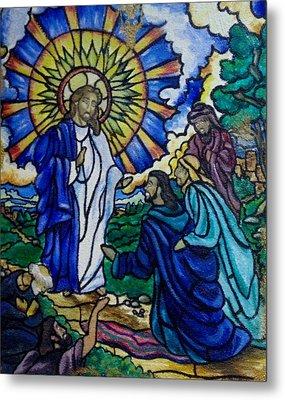 Christ Healing Blind Bartimaeus Metal Print by Antoinette QUEENNETTATITI Allen