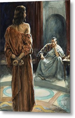 Christ In Front Of Pontius Pilate Metal Print by Henry Coller