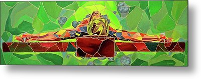 Christ In Stained Glass Metal Print by Kevin Davidson