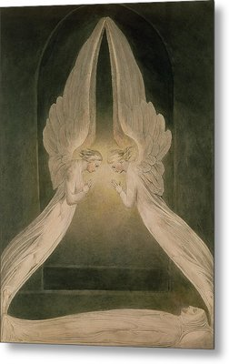 Christ In The Sepulchre Guarded By Angels Metal Print by William Blake
