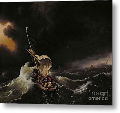 Christ In The Storm On The Sea Of Galilee Metal Print by Ludolph Backhuysen