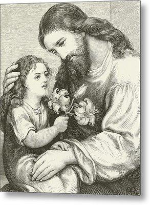 Christ Receiving A Child Metal Print by English School