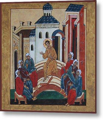 Christ Teaching In The Temple Metal Print by Phillip Schwartz