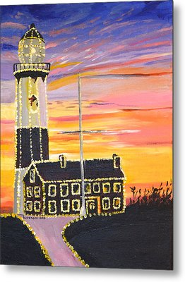 Christmas At The Lighthouse Metal Print by Donna Blossom
