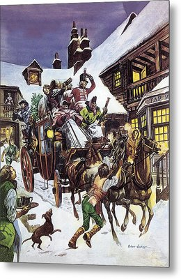 Christmas Day In The Eighteenth Century Metal Print by Peter Jackson