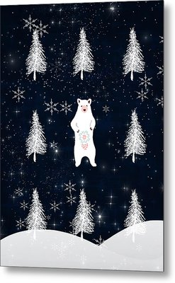 Christmas Eve Bear Metal Print by Amanda Lakey