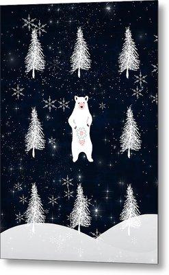 Christmas Eve Bear Metal Print by Amanda  Lakey