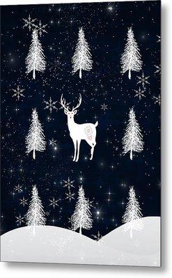 Christmas Eve Stag Metal Print by Amanda  Lakey