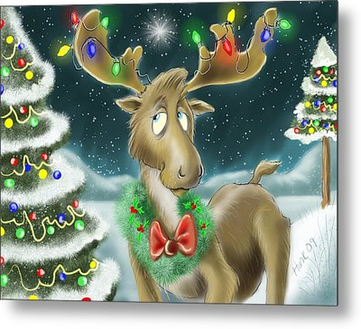 Christmas Moose Metal Print by Hank Nunes