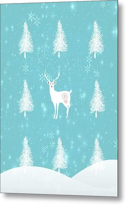 Christmas Morning Stag Metal Print by Amanda  Lakey