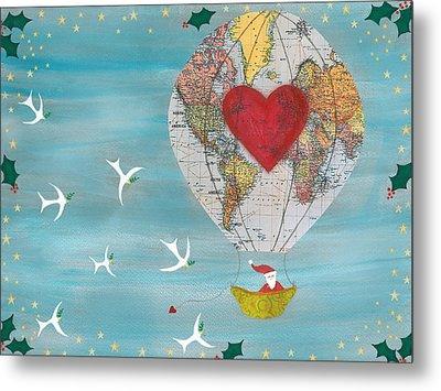Christmas Santa Claus In A Hot Air Balloon For Peace Metal Print by Sukilopi Art