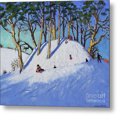 Christmas Sledging  Metal Print by Andrew Macara