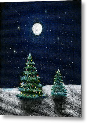 Christmas Trees In The Moonlight Metal Print by Nancy Mueller
