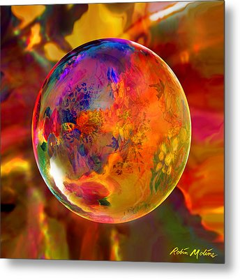 Chromatic Floral Sphere Metal Print by Robin Moline