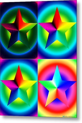 Chromatic Star Quartet With Ring Gradients Metal Print by Eric Edelman