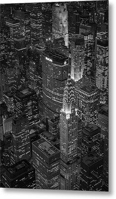 Chrysler Building Aerial View Bw Metal Print by Susan Candelario