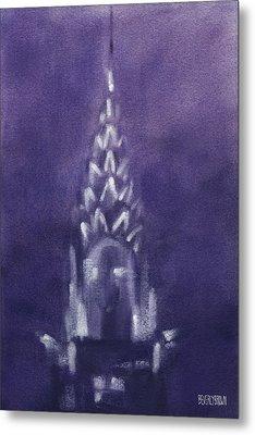 Chrysler Building Violet Night Sky Metal Print by Beverly Brown