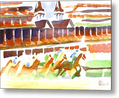 Churchill Downs Watercolor Metal Print by Kip DeVore