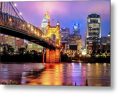 Cincinnati Skyline And Bridge Art - Ohio Cityscape Photography Metal Print by Gregory Ballos