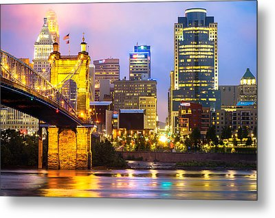 Cincinnati Skyline And The John Roebling Suspension Bridge Metal Print by Gregory Ballos
