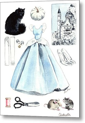 Cinderella Disney Princess Collage Castle Glass Slippers Mouse Pumpkin Cat Metal Print by Laura Row