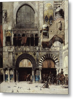 Circassian Cavalry Awaiting Their Commanding Officer At The Door Of A Byzantine Monument Metal Print by Alberto Pasini