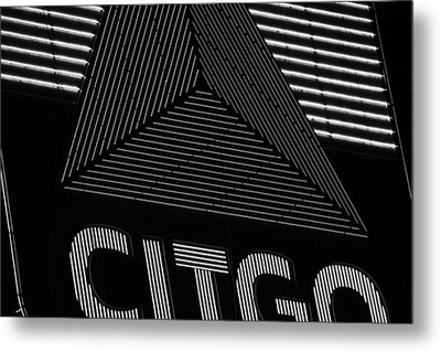 Citgo Sign Closeup Boston Ma Black And White Metal Print by Toby McGuire