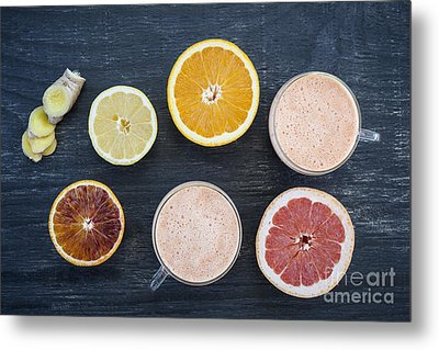 Citrus Smoothies Metal Print by Elena Elisseeva