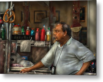 City - Ny - The Pretzel Vendor Metal Print by Mike Savad
