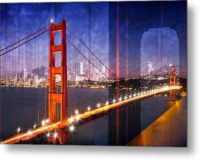 City Art Golden Gate Bridge Composing Metal Print by Melanie Viola