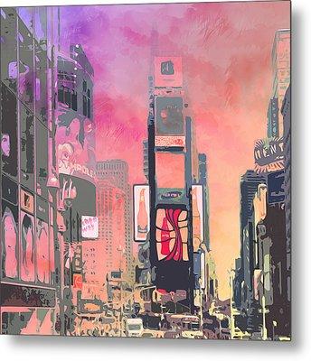 City-art Ny Times Square Metal Print by Melanie Viola